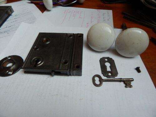 Antique Door Rim Lock Complete White Ceramic Knobs Night Latch