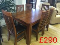 Beautiful solid dining table and 6 chairs --ONLY £290--delivery available!!!