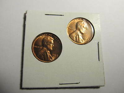 1962-P & D Lincoln Memorial Small One Cent Mint State Gem BU Red 1 of each - One Cent Mint