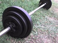 57 lb 26 kg Metal Dumbbell & Barbell Weights with Spinlock Bar - Heathrow