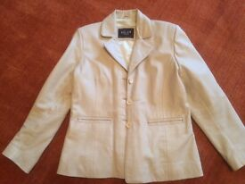 Genuine Italian Cream Ladies Leather Jacket.