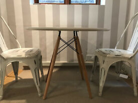 Eames Inspired White DSW Round Dining Table -with 2 white metal chairs