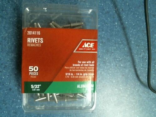 "Ace 2014116, 5/32"" Rivets, Aluminum, 50 Pieces, FREE SHIPPING"