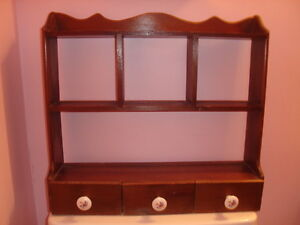 FIRST $80 TAKES IT ~  VINTAGE WALL WOOD SHELF WITH DRAWERS 1970