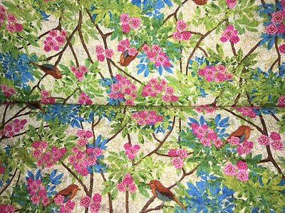 Fine Prism Garden Bird Branches Floral 100% cotton fabric by the yard