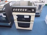 NEW GRADED CREAM/BLACK 60 WIDE HOTPOINT FREESTANDING COOKER REF: 13237