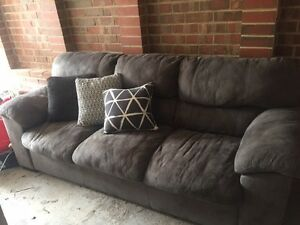 Modern charcoal grey 3 seater suede look couch Sunbury Hume Area Preview