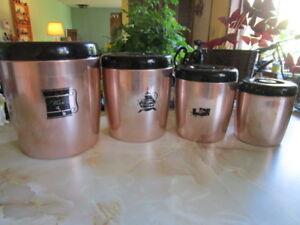 Vintage West Bend Coppertone Kitchen Cannisters