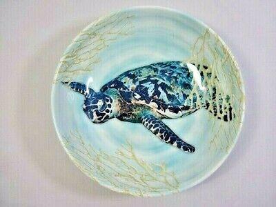 Blue Sea Turtle Cereal Bowl 8.5 Inch Melamine Dinnerware Nautical Ocean Coral