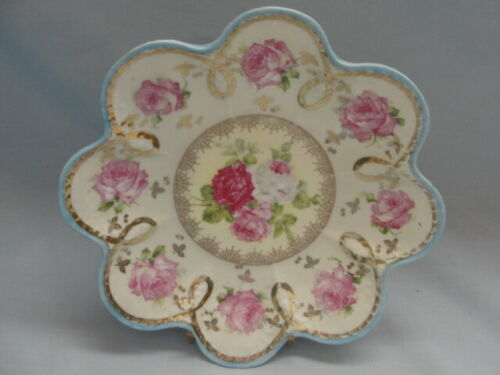"AUSTRIAN IMPERIAL CHINA Scalloped 8"" Cookie Plate  -  Roses With Gilt Trim"