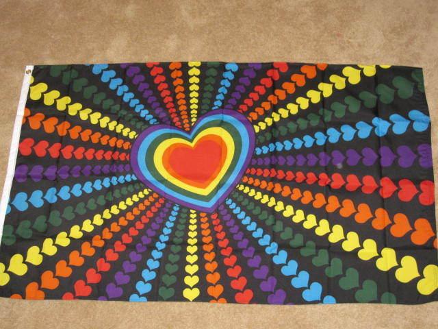 RAINBOW HEART FLAG 3x5 LGBT GAY LESBIAN PRIDE F907