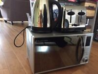 Russell Hobbs Silver Microwave and Stainless Steel Kettle/Toaster Set