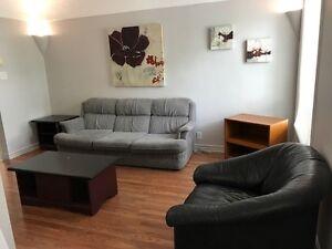 Grand 3 1/2 meublé, climatisé, frais peint