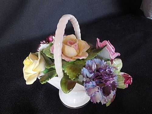 Royal Adderly Floral Basket English Bone China Hand Painted Vintage England 1950