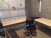Two rectangle office desks, corner desk and office chair