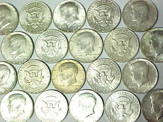 Roll 1964 Kennedy Silver Half Dollars $10 Face Value 20 Coins 90% Silver (tn)