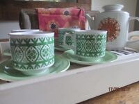 Retro Meakin Cups Saucers and Large Teapot Mothers Day