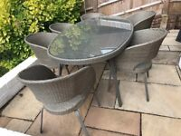 John Lewis Rattan Garden furniture - 6 chairs and dining table with glass + cushions