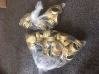 **47 GLASS BOTTLES 500ML - USED ONCE AT A WEDDING - COME COMPLETE WITH GOLD LID**