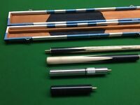 Snooker cue, case and extensions - NEW NEVER CHALKED