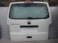 VW T5 T5.1 TRANSPORTER MULTIVAN CARAVELLE TAILGATE WHITE R902 WITH SMALL DAMAGE SLIDING DOOR BUMPER
