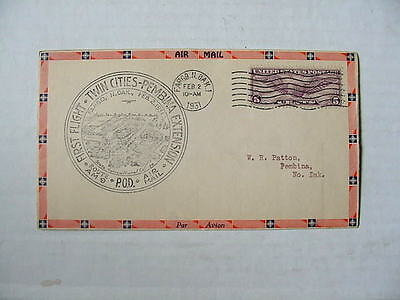 1931 Us First Flight Air Mail Cover   Twin Cities   Pembina   Very Fine