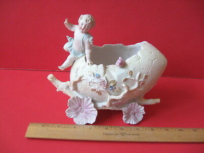 AS IS Vintage Bisque Porcelain Cherub on Easter Egg Carriage Figurine Planter