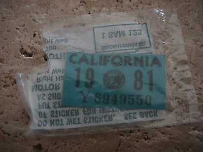 Never Used    Ca License Plate 1981 Sticker  Original Dmv Issued