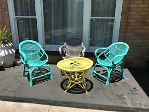 FREE 3 x cane seats + 1 x cane table Outdoor Setting Myrtle Bank Unley Area Preview