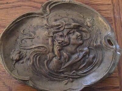 "Art Nouveau ""Suffragette with a Cigarette"" Bronze Dish/Tray"