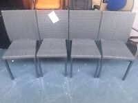 4 BRAND NEW METAL AND RATTAN CHAIRS