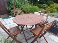 Wooden Garden Table and 4 Chairs, fold away