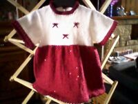 NEW HAND KNITTED - SPARKLING SEQUINED PARTY DRESS - AGE 2 / 3 YEARS