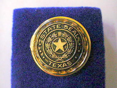 Vintage TEXAS STATE SEAL Lapel Pin- Gold Plated