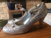 Silver Sparkling High Heel Shoes Size 6