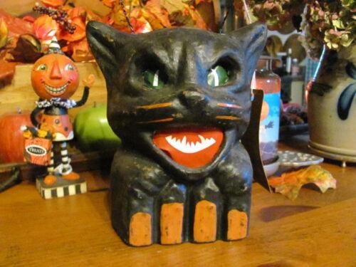 "NEW Vintage & Scary Halloween Black Cat on Fence, Paper Mache Lantern 7 1/4"""