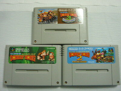 Super Famicom 3 game set Donkey Kong 1 2 3 Japan SFC SNES