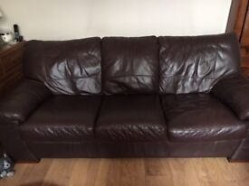 DFS Brown leather settee