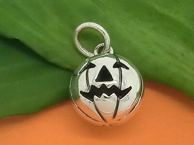 Calabaza Plata de Ley 925 Colgante Cadena Halloween Fantasmas con Cinta