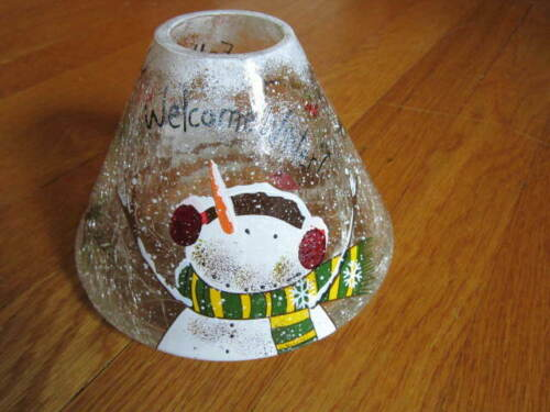 Yankee Candle Topper Snowman Christmas Crackle Glass Welcome Winter Shade Star