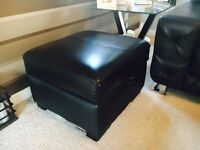 Black Leather 3 Seater, 2 Seater & 2 Footstools Sofa Set - DFS Sofa