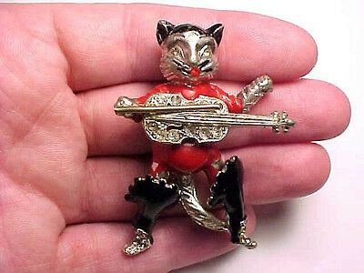rare vintage early reinad puss & boots cat trembler pin brooch