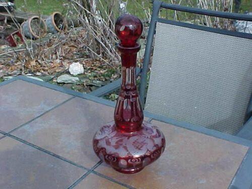 ORIGINAL ANTIQUE GENIE BOTTLE RED GLASS