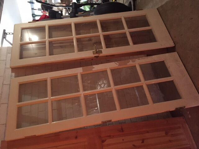 2 X 10 Panel Glass Filled Interior Doors Free For Collection In
