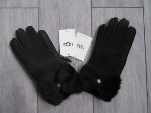 UGG AUSTRALIA KIDS BLACK SUEDE BOW GLOVES, 11110, NWT $155, S