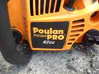 POULAN GAS CHAINSAW 18 INCH (barely USED) 42cc.