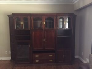Solid Cherry Wood 5 piece wall unit