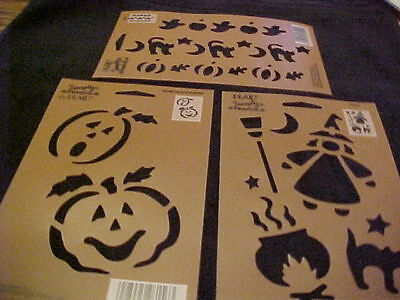 Halloween 3 Stencils Cat Witch Pumpkin Ghost by Plaid Simply Stencils NEW - Halloween Pumpkin Stencils Witch