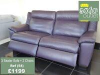 Designer Purple leather 3 seater sofa + 2 chairs ( 54) £1199