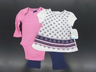Infant Girls Best Beginnings $20 3pc Navy, Pink, & White Set Size 6m -